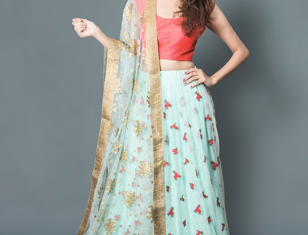 Sky Blue Net Lehnga With Floroscent Pink Silk Blouse