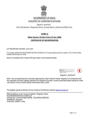 LLP Certificate