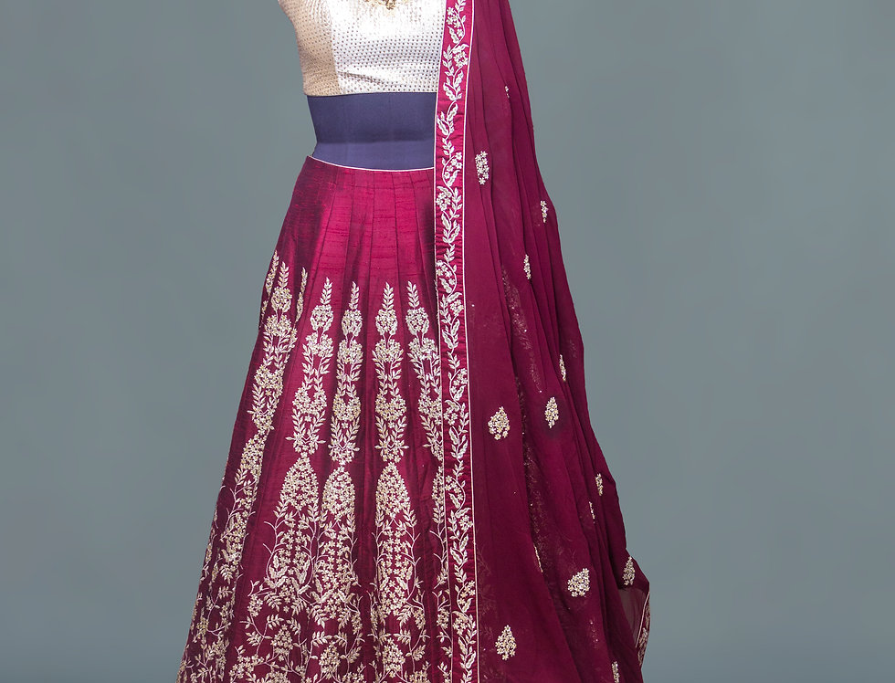 Maroon Raw Silk Lehnga with Zardozi work blouse