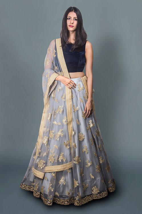 Grey Net Lehnga with Royal Velvet Blouse and Grey Net Dupatta Drape
