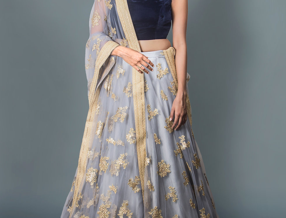 Grey Net Lehnga with Royal Velvet Blouse and Grey Net Dupatta Drape