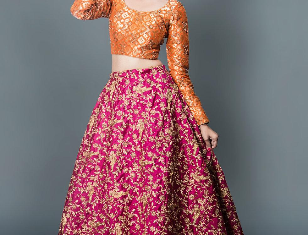 Magenta Pink Fancy Lehnga With Orange Brocade Blouse