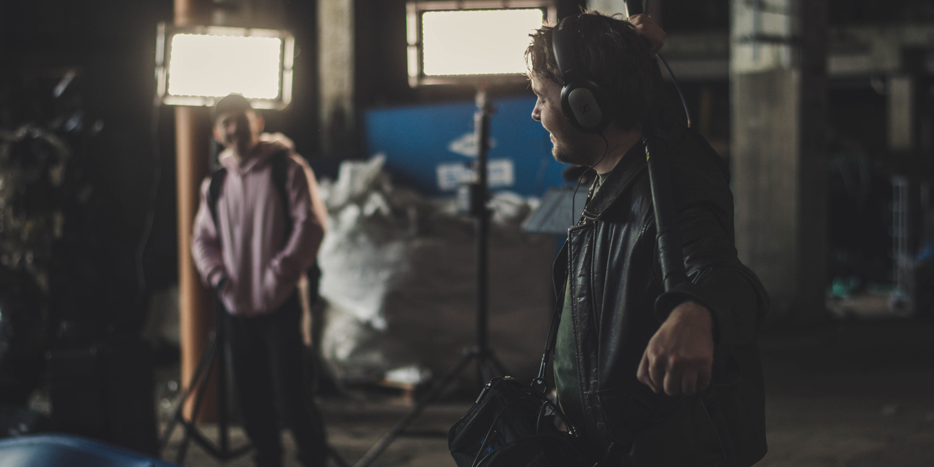 Johan being boom operator and sound mixer on set