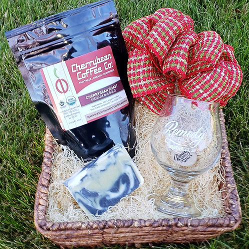 Pint Glass, Drink Token, Coffee, Soap Gift Basket