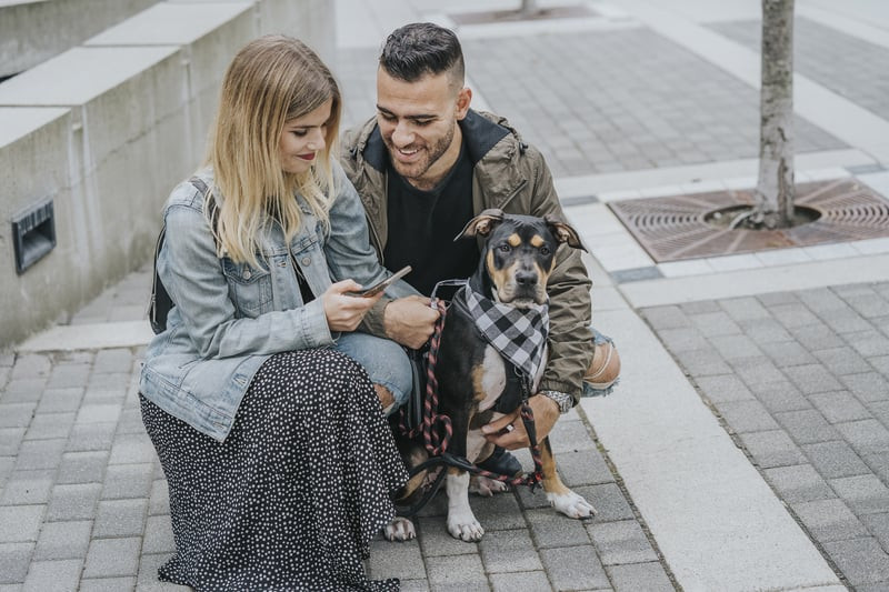 Datis and his partner with their dog, Juniper using PawSwap App