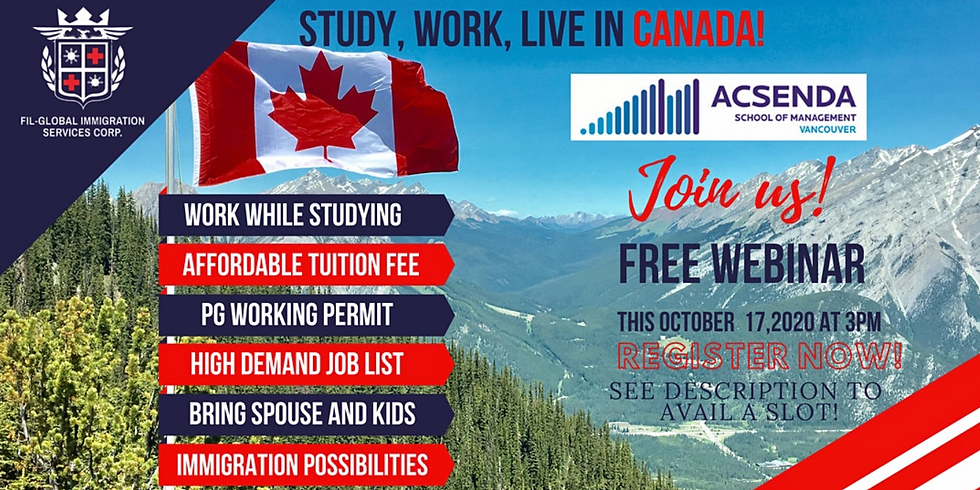 STUDY, WORK, LIVE IN CANADA