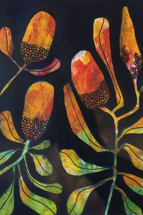 'Banksia(Orange)' by Joan Mullarvey