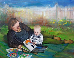 SpringReading-JanetLeith-motherchild-oil