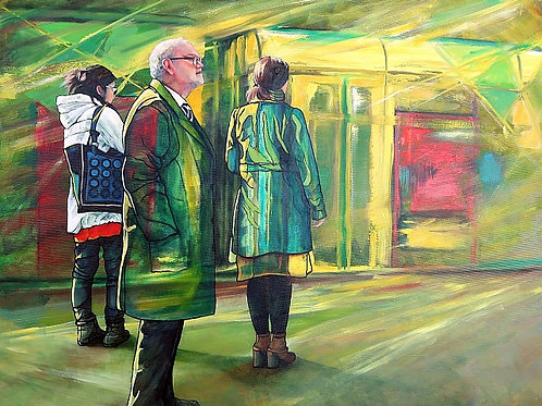 'At The Tram Stop' by Janet Leith