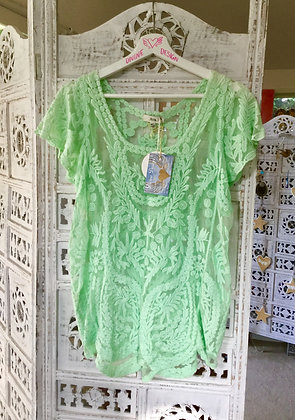 French lace pale lime top
