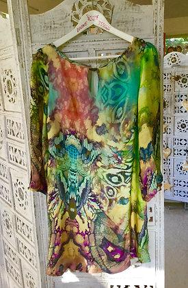 Silk fluid dye print cocktail dress