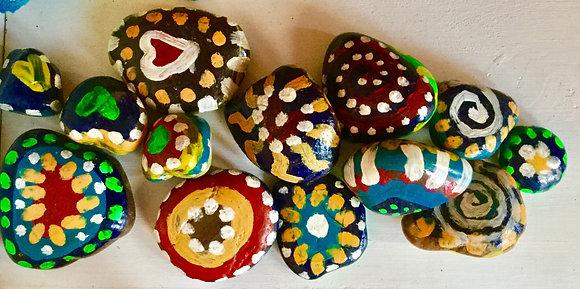 Handpainted Rainbow Stones