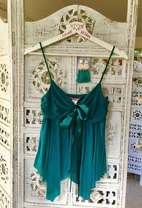 British green flared camisole with bow