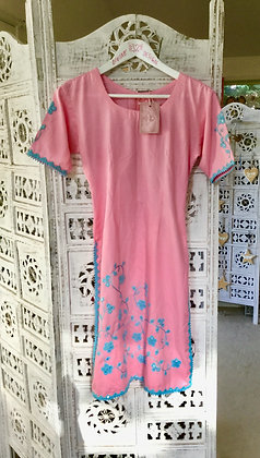 Pink with Blue embroidery cotton Kaftan