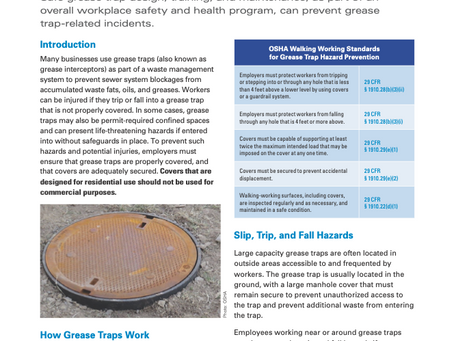 OSHA Hazard Bulletin: Grease Trap Hazards