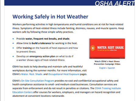 OSHA Alert: Working Safely in Hot Weather