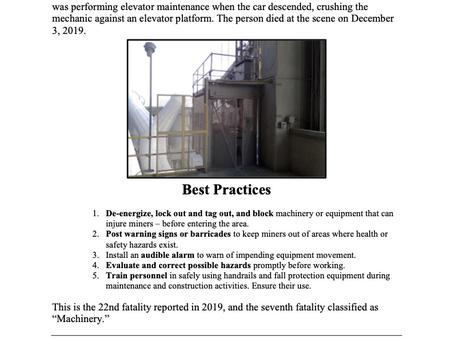 MSHA December 3, 2019 Fatality - Fatality Alert