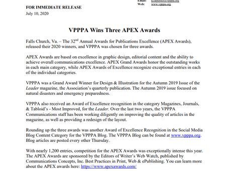 Press Release: VPPPA Wins Three APEX Awards