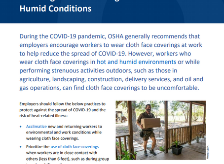 OSHA Resources on Face Coverings While Working Indoors and Outdoors!