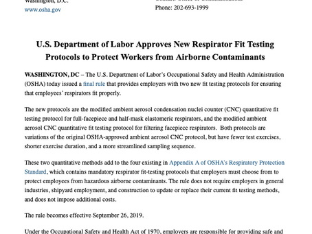 New Respirator Fit Testing Protocols to Protect Workers from Airborne Contaminants