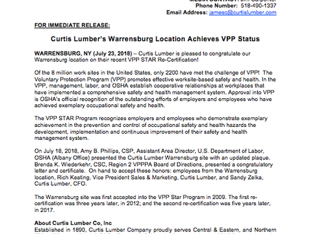 Curtis Lumber (Warrensburg) Receives VPP Star Recertification!
