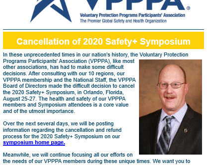 Message from the VPPPA Conference Planning Committee Chair - Cancellation of 2020 Safety+ Symposium