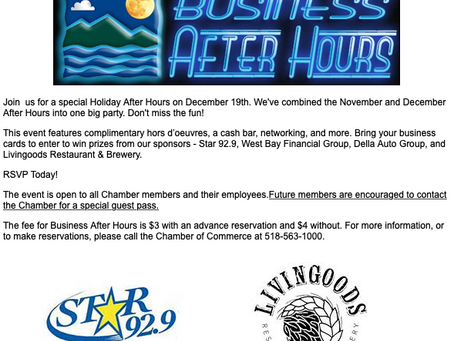 North Country Chamber's Business After Hours - December 19th!
