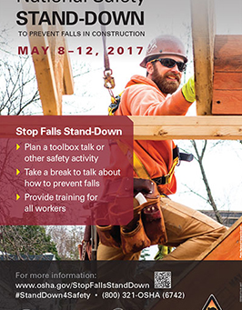 REMINDER: 2017 National Safety Stand-Down to Prevent Falls in Construction
