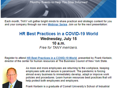 TANY July 15th's Webinar - HR Best Practices in a COVID-19 World - Free for TANY members!