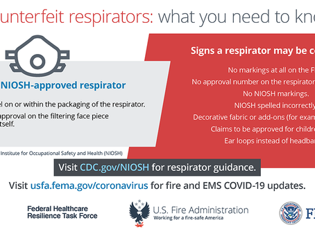 COVID-19 Resource Update from USFA - Counterfeit Respirators: What You Need to Know