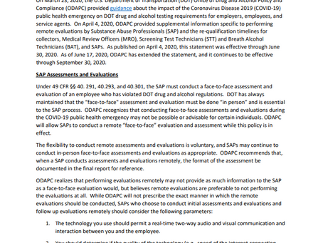 Updated ODAPC Guidance – DOT Statement of Enforcement Discretion for Substance Abuse Professionals a