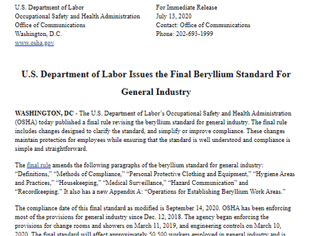 OSHA Issues the Final Beryllium Standard For General Industry