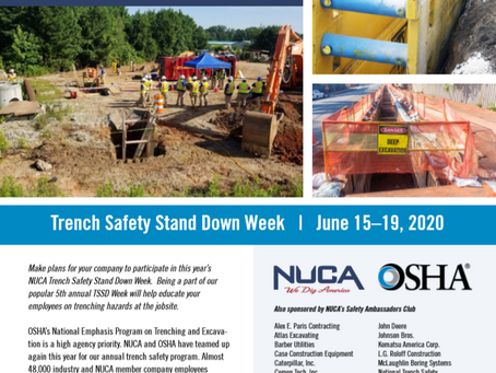 2020 Trench Safety Stand Down - June 15 - June 20th