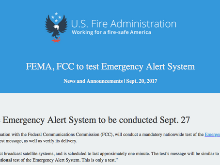 Mandatory Nationwide Test of the Emergency Alert System scheduled for Wednesday, September 27th at 2