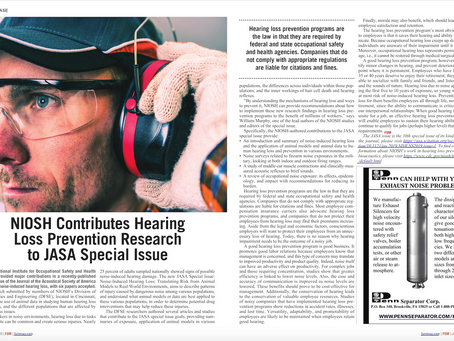 NIOSH Contributes Hearing Loss Prevention Research