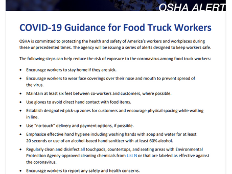 OSHA's COVID-19 Tip of the Day - COVID-19 Guidance for Food Truck Workers!