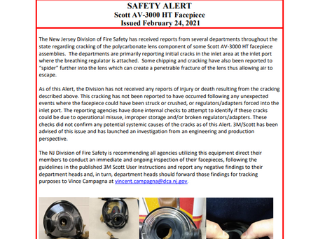 Safety Alert: Scott AV-3000 HT Facepiece Cracking at the Inlet Port