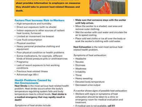 OSHA - NIOSH Infosheet on Protecting Workers from Heat Illness