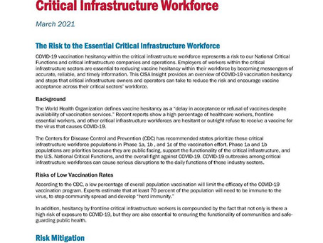 COVID-19 Vaccination Hesitancy within the Critical Infrastructure Workforce