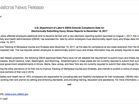 U.S. Department of Labor's OSHA Extends Compliance Date for Electronically Submitting Injury, Illnes