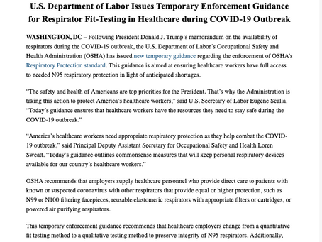 U.S. Department of Labor Issues Temporary Enforcement Guidance for Respirator Fit-Testing...