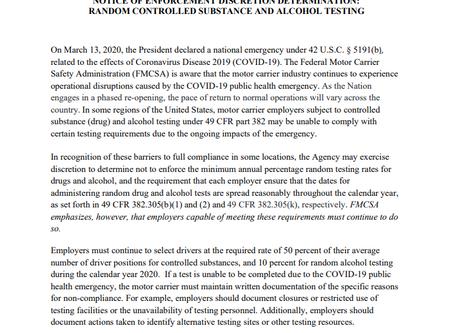 FMCSA COVID-19 Notice of Enforcement Discretion Determination