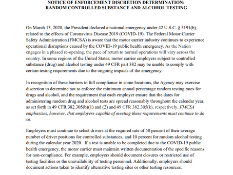 FMCSA COVID-19 Notice of Enforcement Discretion Determination