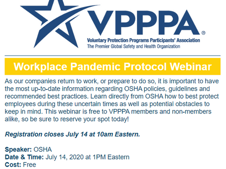 FREE Resource - VPPPA​ Workplace Pandemic Protocol Webinar - July 14th!