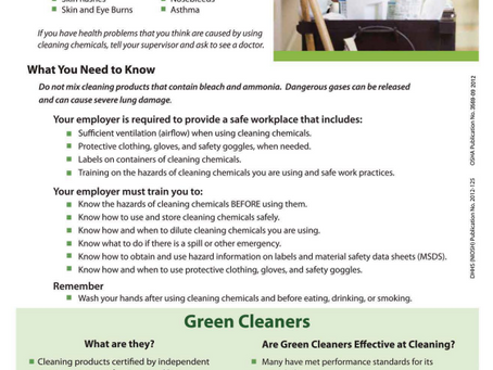 """""""Train workers on the hazards of cleaning chemicals."""""""