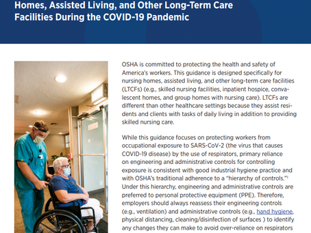 U.S. Department of Labor Issues Respiratory Protection Guidance For Long-Term Care Facilities...