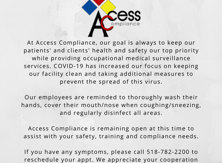 Please see our notice below regarding COVID-19 safety precautions at Access Compliance