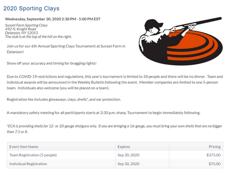 Eastern Contractors Association, Inc.'s 2020 Sporting Clays event is coming up on September 30th!