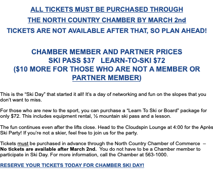 North Country Chamber Ski Day - March 5th!