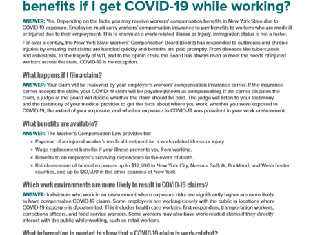 COVID-19 & Workers'  Compensation Q&A from the New York State Workers' Compensation Board!
